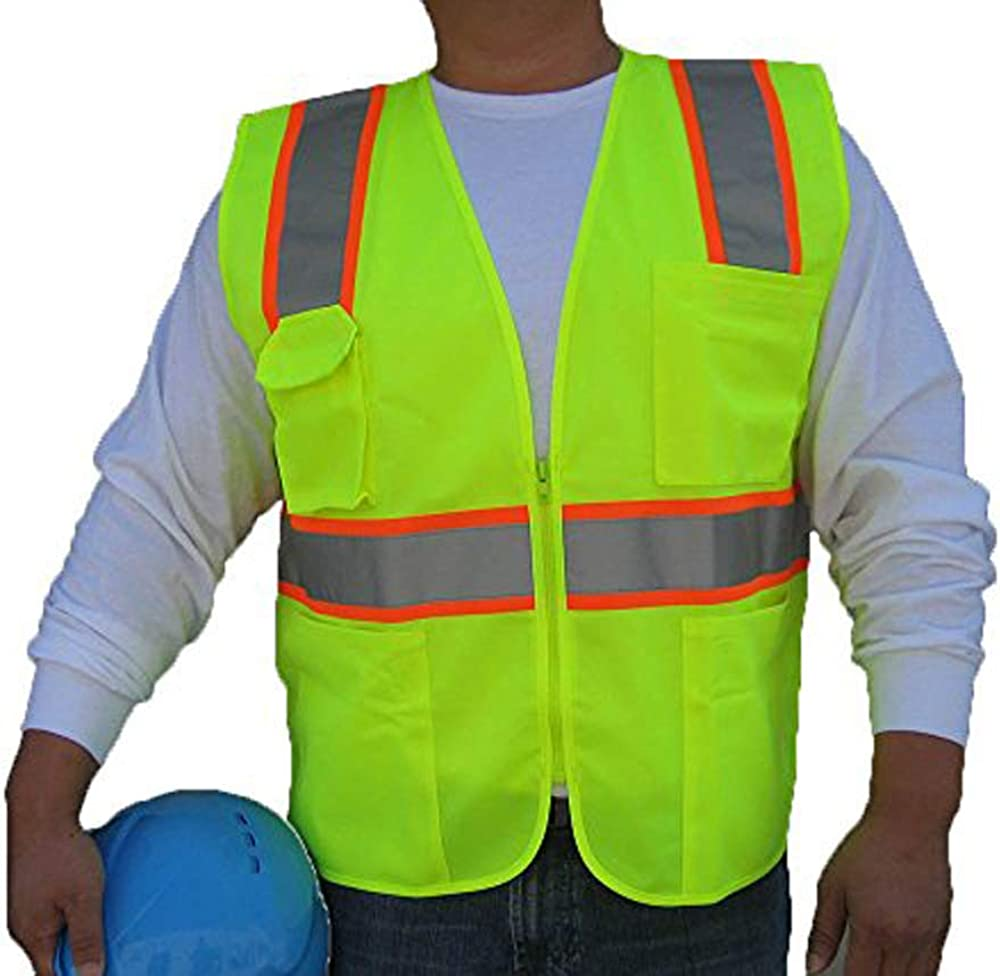 3C Products SV2300, ANSI/ISEA Class 2, Safety Tricot/Mesh Vest, Reflective w/Orange Binding, Zipper, Pockets, Neon Green