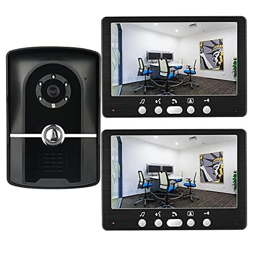 Timbre con video, intercomunicador, sistema de entrada con visor de puerta con cable, kit de seguridad para el hogar con videoportero de 7 pulgadas, cámara de visión nocturna IR + 2 monitores