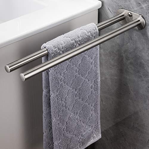 YIGII Handtuchhalter Zweiarmig Edelstahl Gebürstet Handtuchstange Wandmontage Bad 40 cm