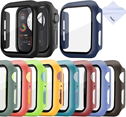 Screen Protector for Apple Watch Series 6/5/4 /SE 44mm Case with Tempered Glass Screen Protector Cover Bumper (10 Pack )