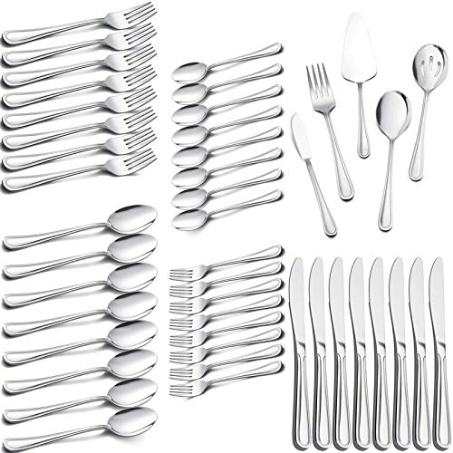 45-Piece Silverware Set with Serving Utensil, E-far Stainless Steel Modern Flatware Cutlery Set Service for 8, Tableware Includes Dinner Forks/Knives/Spoons, Mirror Polished, Dishwasher Safe