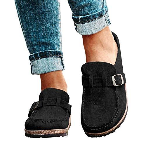 jdiw Sandalias De Mula Planas para Mujer Zuecos Sin Cordones De Gamuza Zapatillas De Andar Punta Redonda Calzado