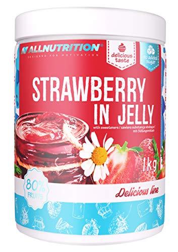 ALLNUTRITION Fruits in Jelly 1er Pack 1000g Früchte im Gelee ohne Zucker kalorienarm diätetisch süßer Nachtisch mit ganzen Früchten für einen einfacheren Muskelaufbau (Erdbeere)