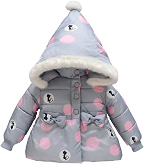 Xifamniy Infant Girls Thicken Cotton-Padded Jacket Bow Design Hooded Babies Fashion Coat Gray