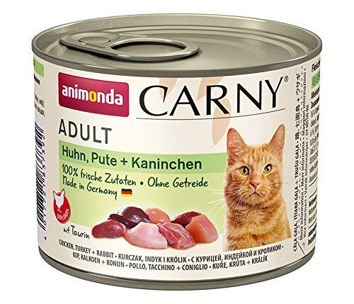 animonda Carny Adult Katzenfutter, Nassfutter für ausgewachsene Katzen, Huhn, Pute + Kaninchen, 6 x 200 g