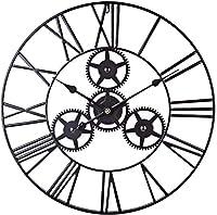 60cmラージウォールクロックメタルウォールアートホローギアローマ数字デコミュートクロックリビングルームオフィス用-ブラック
