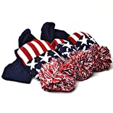 GOOACTION 3PCS Knitted Golf Head Covers 1-3-5 for Driver and Fairway Woods with Long Neck Design Vintage Red Stars and Stripes American Flag Sock Pom Pom Golf Club Patriotic Headcovers Set