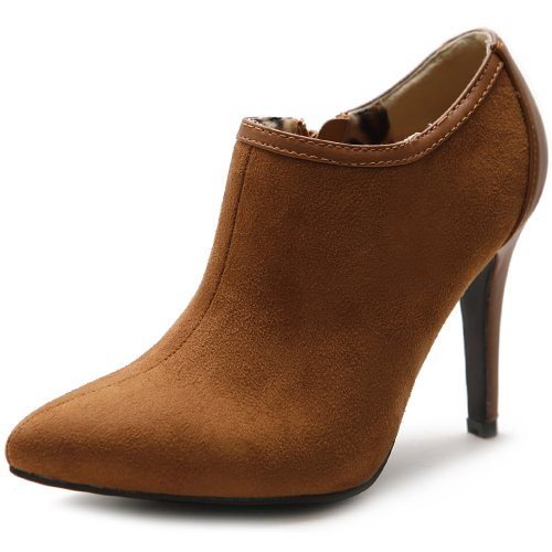 Ollio Women's High Heel Ankle Shoe Zip Faux Suede Multi Color Boot ZM10912(8.5 B(M) US,Brown)