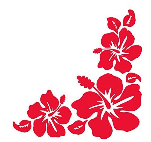ハイビスカス Hibiscus 南国 花形 ハワイアン hawaii フラワー コーナー ステッカー シール (デカール...