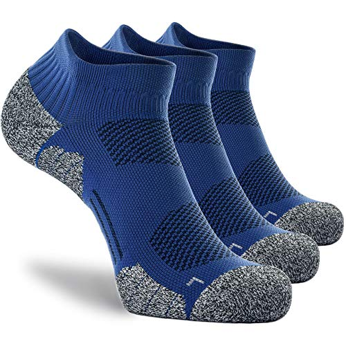 CWVLC Compression Basketball Skateboard Socks for Men Women 3-pairs, Ankle Running Bike Socks No Show Arch Support Blister Resistant Moisture Wicking Short Low Cut, Blue, L (10-13 Women/9-11.5 Men)