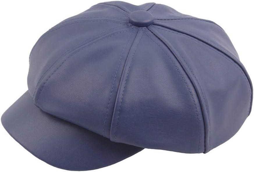 ZLQQLZ Women Cap Retro Beret Cap Autumn Winter Wool Ladies PU Leather Men's Stitching Octagonal Hat Fashion Painter Hat Hat (Color : Navy Blue, Size : 56-58CM)