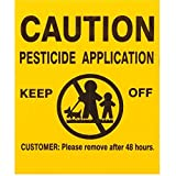 "25x GEMPLER'S Caution Pesticide Application Signs – Universal, Durable Screen-Printed Weatherproof Outdoor Corrugated Plastic Legend Boards Plus 16"" PVC Stakes – USA Made"