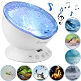 Night Light Projector Ocean Wave - Sound Machine with Soothing Nature Noise and Relaxing Light Show - Color Changing...