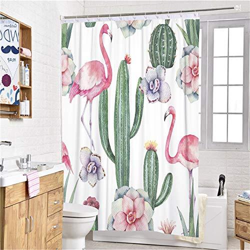 Sticker superb 3D Tier Rosa Flamingo Tropisch Blume Duschvorhänge mit Haken, Tukan Kaktus Drucken Duschvorhänge Mikrofaser Polyester Anti-Schimmel Wasserdicht (Kaktus Flamingo, 120x180cm)