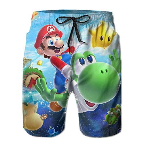 Super Ma-Ri-O Herren Casual Beach Shorts Sommer Quick Dry Printed Badehose - Violett - X-Large