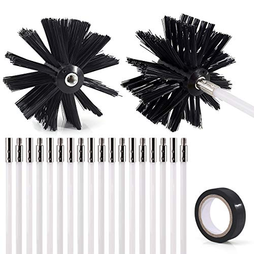 21-Piece 24 Feet Dryer Vent/Duct Brush Cleaning Kit Chimney Cleaning Kit Lint Remover Working with or Without Drill Includes 2 Nylon Brush Heads, 18 Rods and 1 Tape
