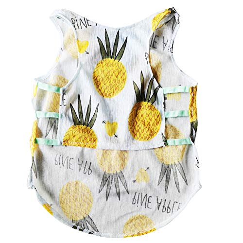 CT COUTUDI Breathable Pet Dog Clothes Pineapple Tee Shirt Cute Rabbit Ice Cream Vest for Small Dogs Cat Casual Tank Top for French Bulldog Pug