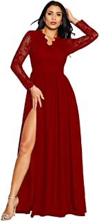 Women's Lace Long Sleeves Prom Dresses V Neck High Slit Formal Evening Gowns