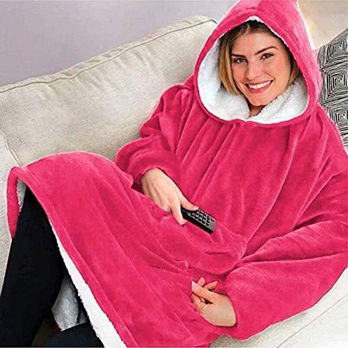 Lvcuyy Hoodie Blanket for Adults Wearable Blanket Adult Huggel Hoodie, Kapuzenkleid, Spa, Bademantel, Sweatshirt, Fleece, Pullover, Decke, Eine Größe Für alle Männer, Frauen-Rosa
