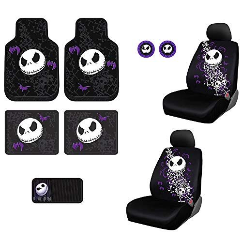 Plasticolor 10 Piece Nightmare Before Christmas Jack Skellington Bones Design Floor Mats, Seat Covers, Auto Coasters and Air Fresheners with Bonus CD Visor Organizer for Your Car Truck or SUV