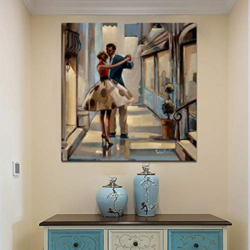 Leinwanddrucke Paar tanzende Wandkunst Bild Wohnkultur für Wohnzimmer Poster50x50cmRahmenlose Malerei