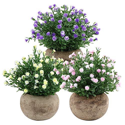 VINFUTUR 3pcs Flores Artificiales Decorativas Plantas con Maceta Plantas Flasas Plástico Decoración para Mesa Hogar Oficina Baño Cocina Balcón