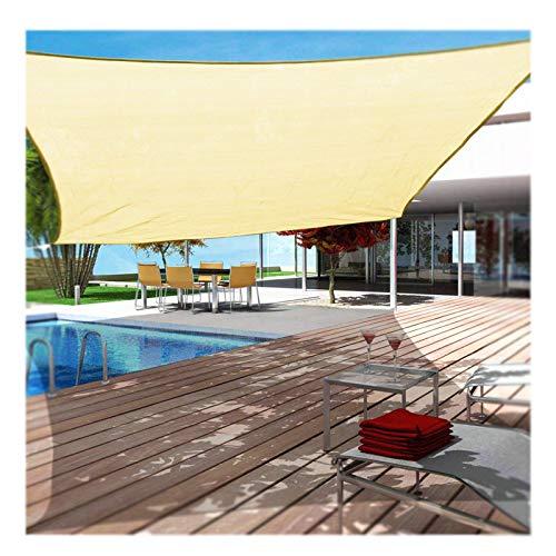 Toldo rectangular con iluminación LED, toldo de vela rectangular con luz LED, 95% a prueba de rayos UV, transpirable, resistente al viento, alta densidad, para patio o jardín, 3 x 5 m