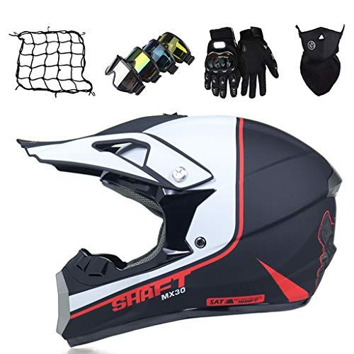 Casco Cross Niños Blanco Negro Casco de Descenso Set (5 piezas) Casco de Seguridad integral Adulto para Motocicleta MTB Bicicleta Enduro BMX
