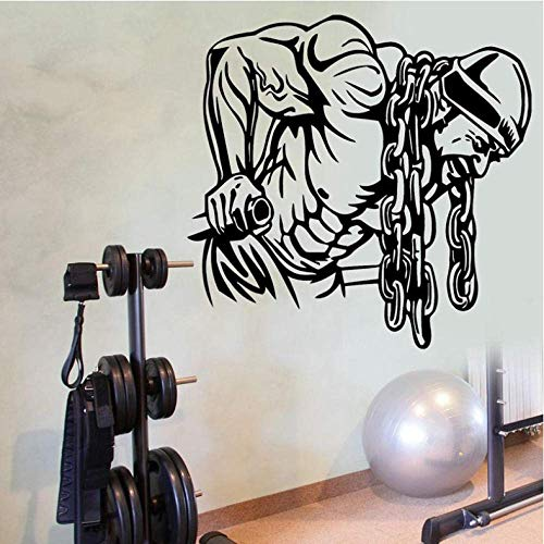 Gym Zelfklevende naamstickers Ironmen Fitness ketting ijzer Crossfit halter Decal Body-Building Plakkaat Muursticker Gym Decoratie zelfklevend 40 x 42 cm