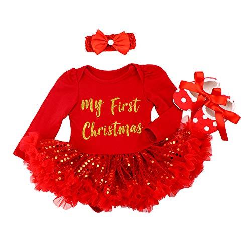 FYMNSI Neugeborenes Baby Mädchen Weihnachtsoutfit Mein erstes Weihnachten Bekleidungsset Prinzessin Tütü Strampler Body Kleid mit Stirnband Schuhe 3tlg Xmas Party Kleidung Outfit für 0-3 Monate