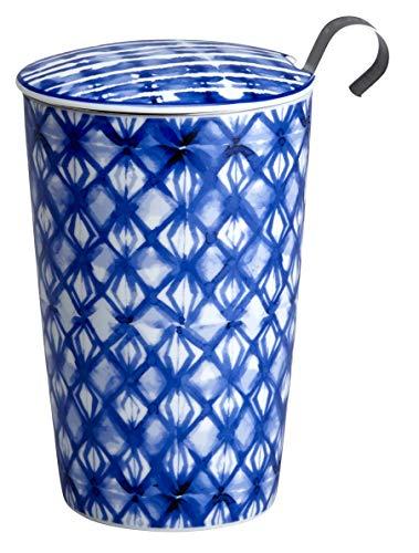 Eigenart TEAEVE® Teetasse, Becher mit Sieb + Deckel, INDIGO Diamonds im Geschenkkarton