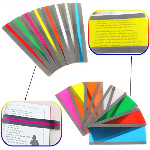 Lind Kitchen 16pcs Multi-Colored Guided Reading Strips Colored Overlays Highlighter Multipurpose Bookmark Strip for Children/Student/Teacher/Dyslexia People 8 Colors(Small + Large)