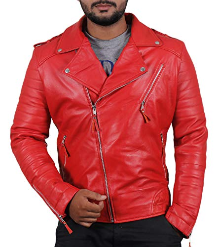 Laverapelle Men's Genuine Lambskin Leather Jacket (Red, Medium, Polyester Lining) - 1501474