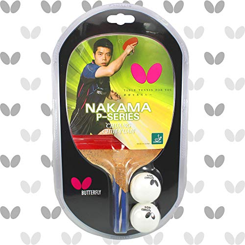 Butterfly Nakama P7 Japanese Penhold Table Tennis Racket - Great First Racket for Japanese Penhold Style of Play - Nakama Series - Includes 2 40+ Balls - Recommended for Beginning Level Players