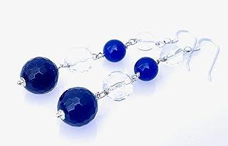 Orecchini con agata blu, cristallo di rocca trasparente e giada, pendenti lunghi in argento 925, gioielli artigianali, bij...