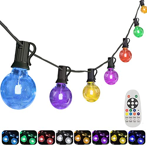 Yuusei 50Ft Colored Outdoor String Lights Waterproof RGB LED Globe String Light with 251 G40 E12 Edison Bulbs and Remote Control Dimmable Hanging Patio Lights for Garden Party Shop