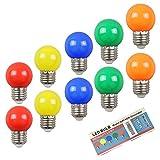 10PCS 2W E27 ampoule couleur, ampoule LED couleur unique, 200LM Lampe de Noël 220V partie petite bule de couleur, 360 ° ampoule LED (2 par couleur)