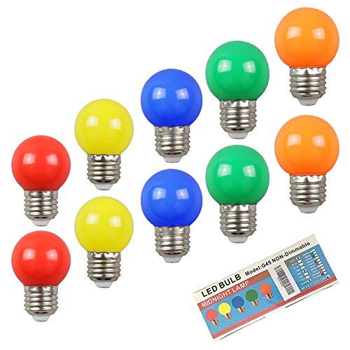 10-pack färgade glödlampor 2 W E27 G45 lampor, LED-färgad golfbollslampa, blandade färger röd grön blå orange gul