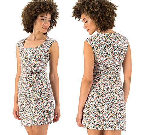 Blutsgeschwister Damen Kleid Flamingo Bingo Dress fine Flower Weiss/bunt - S