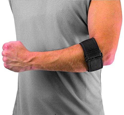 Mueller Tennis Elbow Support with Gel Pad, Black, One Size Fits Most (Pack of 1)
