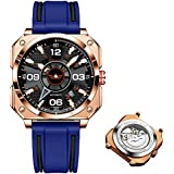 UNUORS Mens Square Watches Silicone Strap Automatic Men's Mechanical Wrist Watches, New Mechanics Sport Fashion Waterrproof Watch for Men with Luminous Calendar
