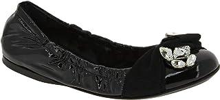 Zapatos Bailarinas con Piedras para Mujer en Piel Brillante Negra - Número de Modelo: 5F9854 XWH F0002
