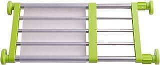 HRS つっぱり棚 つっぱりラック 伸縮棚 強力突っ張り クローゼット 押入れ キッチン トイレに適応 (取付寸法40~60cm, グリーン)