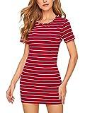 Floerns Women's Casual Short Sleeve Striped Bodycon T Shirt Short Mini Dress Red L