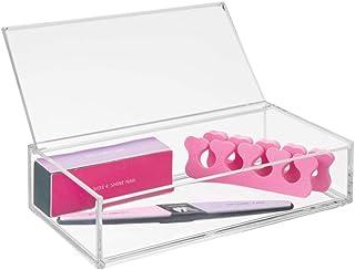 mDesign Organizador de Maquillaje – Gran Caja organizadora baño para cosméticos y Productos de Belleza – con Tapa – Transparente