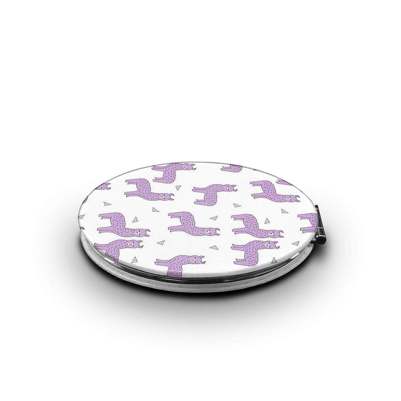 少し委託評議会携帯ミラー 紫色のライラックラベンダーラマミニ化粧鏡 化粧鏡 3倍拡大鏡+等倍鏡 両面化粧鏡 楕円形 携帯型 折り畳み式 コンパクト鏡 外出に 持ち運び便利 超軽量 おしゃれ 9.0X6.6CM