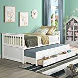 Captain's Bed Wood Trundle Daybed with 3 Storage Drawers, Twin Size Daybed with Trundle for Kids, Bed Frame Living Room Furniture (White)