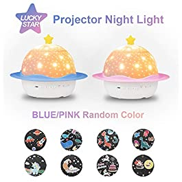 Baby Night Light 3 in 1 Star Projector Music Night Light for Kids 360°Rotating 3 Lights Color 8 Sets of Film with USB Charge Best Gift for Holiday by S'DENTE