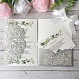 Silber Hochzeits Einladungskarten Mit 20 Stücke Lasergeschnittene Spitze Hochzeitseinladung Seidenband Schleife Set inkl Umschläge (Silberfarbener Glitzer)