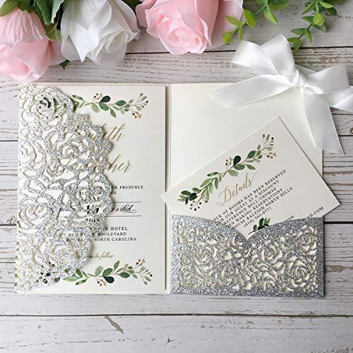 20 invitaciones de boda trípticas cortadas con láser con tarjetas RSVP para boda, despedida de soltera, compromiso, cumpleaños, invitación (purpurina plateada)